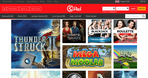 A screenshot of the 32Red casino homepage