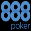 The 888 Poker logo on a black background