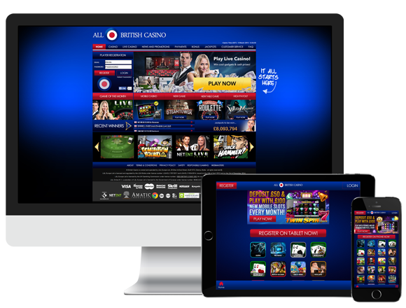 An image of the mobile platforms for All British Casino