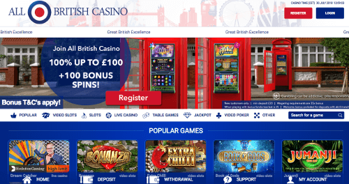 A screenshot of the AllBritish Casino homepage