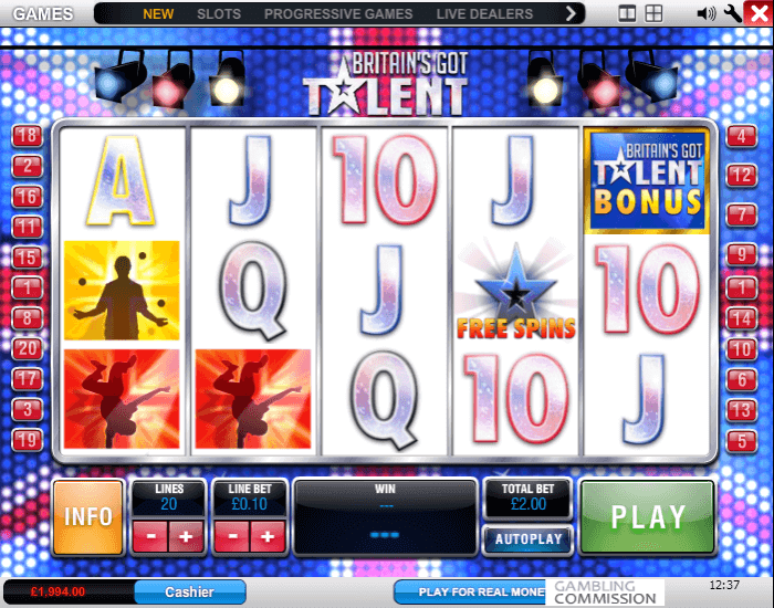 Image of Britains's Got Talent Online Slot Game in Play