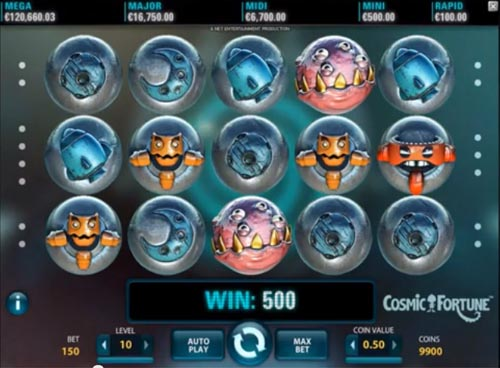 A Screenshot the gameplay  of Cosmic Fortune Slot