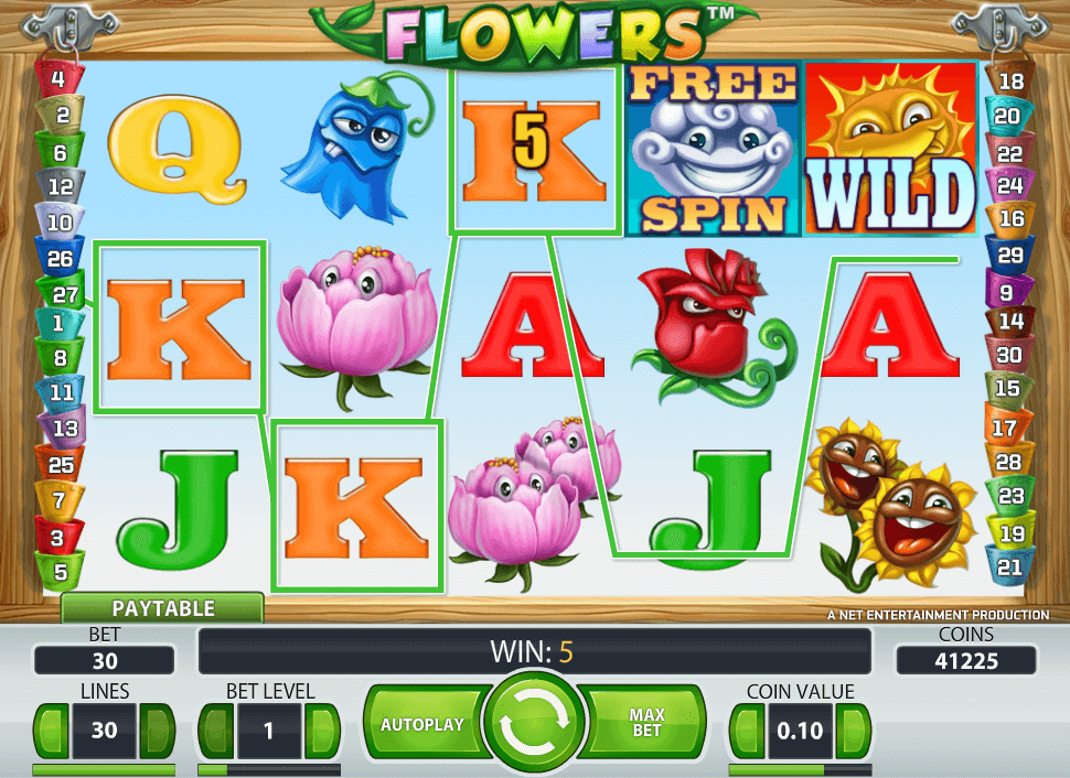 Image of flowers Slot in play