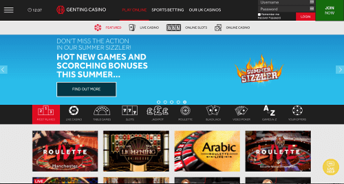 A screenshot of the Genting Casino Homepage