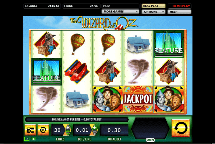 Image of Wizzard of Oz online slot in play