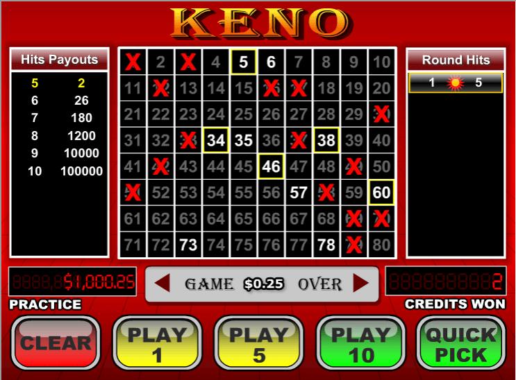Play Keno Arcade Game at Casino.com UK