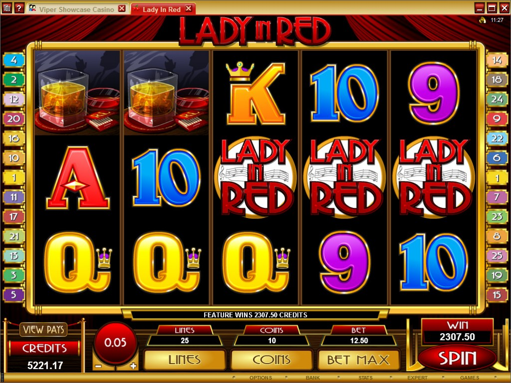 A screenshot of the Lady In Red Online Slot Gameplay