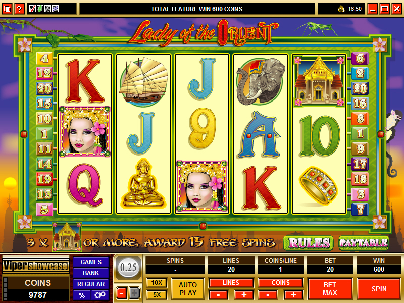 A screenshot of the Lady Of The Orient Online Slot Gameplay