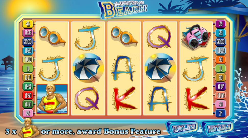 A screenshot of the Life's A Beach Online Slot Gameplay