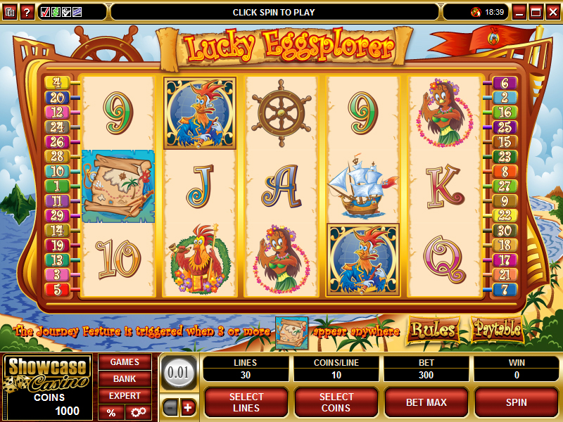 A screenshot of the Lucky Eggsplorer Online Slot Gameplay