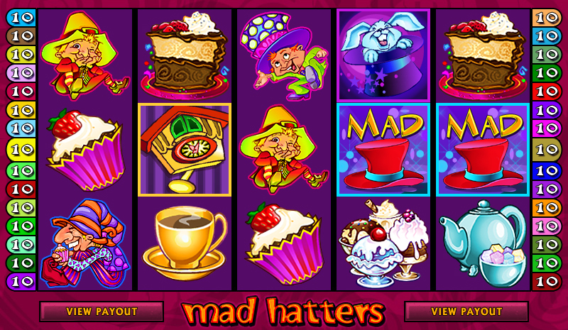 A screenshot of the Mad Hatters Online Slot Gameplay