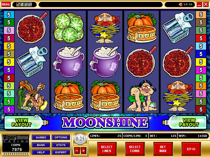 A screenshot of Moonshine Online Slot Gameplay