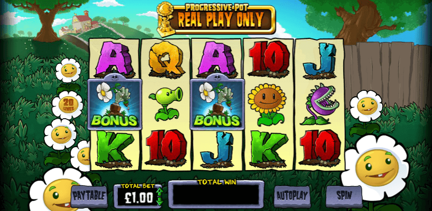 Image of Plants vs Zombies online slot in play