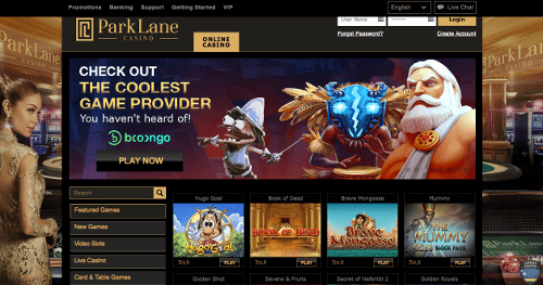 A screenshot of the Park Lane Casino homepage
