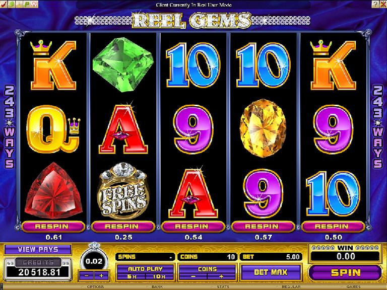 A screenshot of Reel Gems Online Slot
