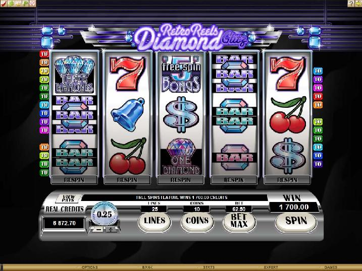 A screenshot of Retro Reels Diamond Glitz Online Slot