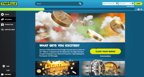 A screenshot of the Thrills casino homepage