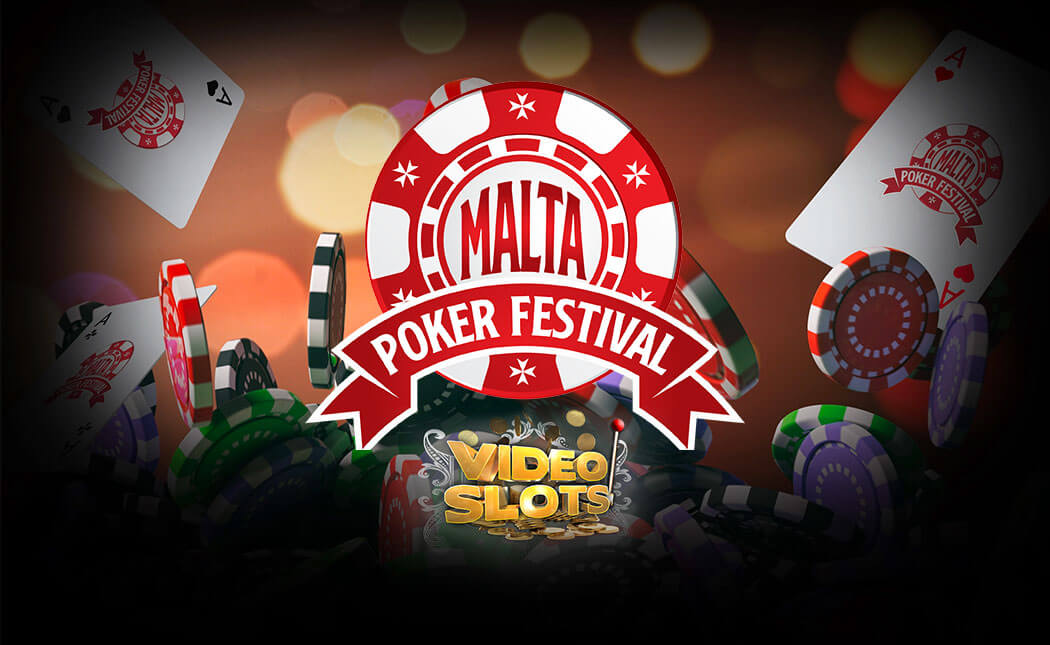 An image showing the Malta Poker Festival logo and the Videoslots casino logo