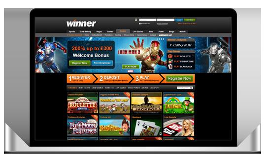 winner casino laptop view