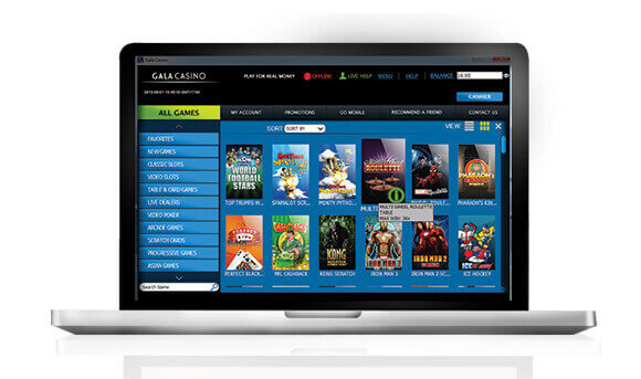 Gala Casino interface on a laptop