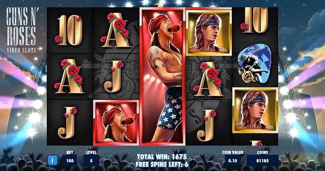 Image of Guns n roses slot in play