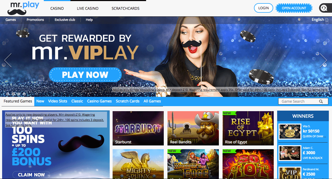 A screenshot of the Mr.Play casino homepage