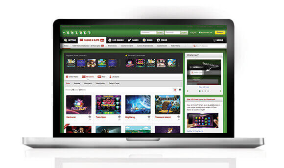Unibet Casino laptop